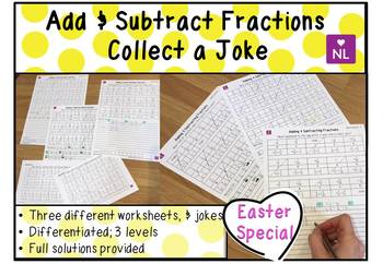 Adding and Subracting Fractions (Collect a Joke Worksheet)