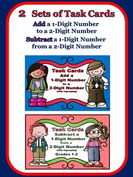 Adding and Subtracting 1-Digit Numbers Task Cards BUNDLE