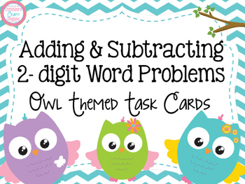 Adding and Subtracting 2-digit Word Problems Task Cards- O