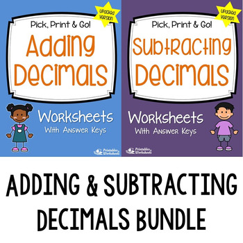 Adding and Subtracting Decimals Worksheets with Answer Keys