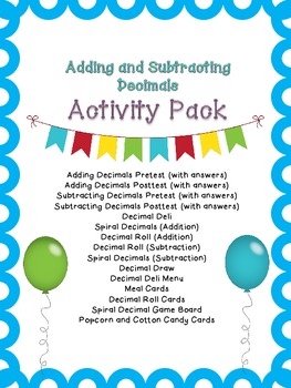 Adding and Subtracting Decimals Activity Pack