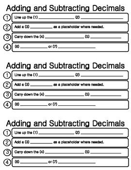 Adding and Subtracting Decimals Guided Notes