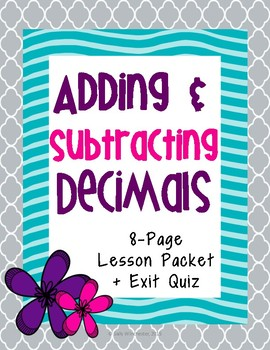 Adding and Subtracting Decimals: Guided Notes and Exit Qui