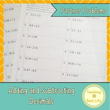 Adding and Subtracting Decimals Partner Problems