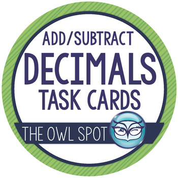 Adding and Subtracting Decimals Task Cards with Word Problems
