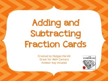 Adding and Subtracting Fraction Cards