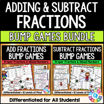 Adding and Subtracting Fractions Bump : A Fractions Games Bundle