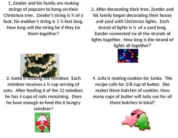 Adding and Subtracting Fractions Christmas Word Problems