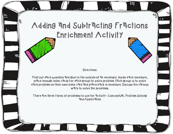 Adding and Subtracting Fractions Enrichment Activity TEKS 5.3K