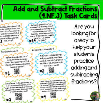 Adding and Subtracting Fractions QR Task Cards