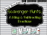 Adding and Subtracting Fractions Scavenger Hunt 10-Pack