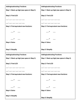 Adding and Subtracting Fractions Step by Step Template