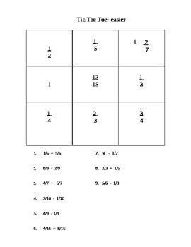 Tic-Tac-Toe: Adding and Subtracting Fractions