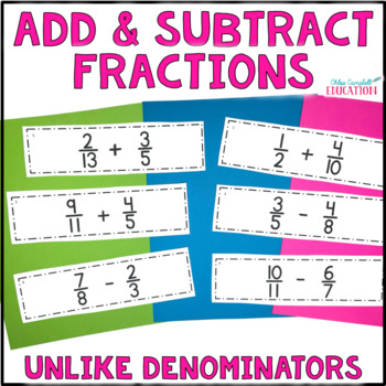 Differentiated Adding & Subtracting Fractions Unlike Denom