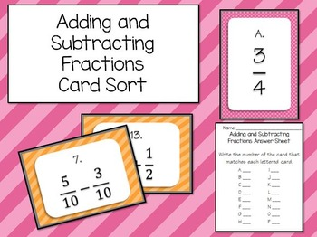 Adding and Subtracting Fractions (Unlike Denominators) Mat