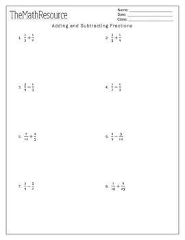 Adding and Subtracting Fractions - Worksheet