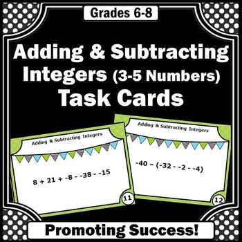 Adding and Subtracting Integers Task Cards & Games for 6th