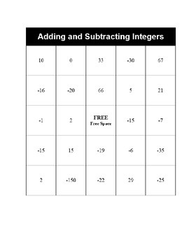 Adding and Subtracting Integers Bingo