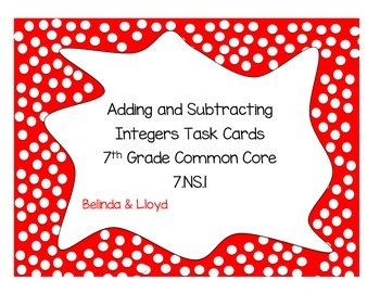 Adding and Subtracting Integers Task Cards 7th Grade Commo