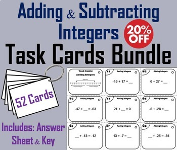 Adding and Subtracting Integers Task Cards Bundle