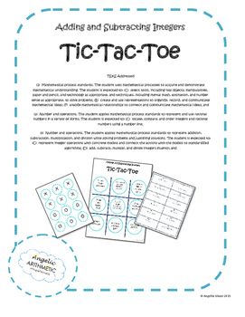 Adding and Subtracting Integers Tic- Tac Toe