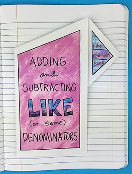 Adding and Subtracting Like Denominators Notebook Foldable
