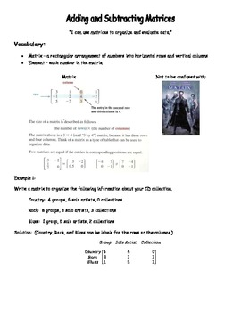 Adding and Subtracting  Matrices Notes