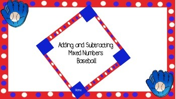 Adding and Subtracting Mixed Numbers Baseball