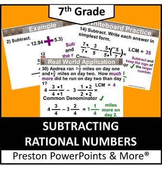 (7th) Subtracting Rational Numbers in a PowerPoint Presentation