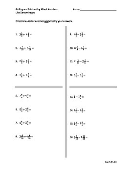 Add/Subtract Mixed Numbers with Like Denominators - Go Mat