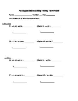 Adding and Subtracting Money Worksheet