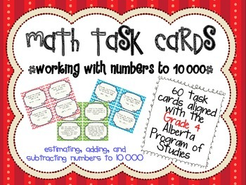 Adding and Subtracting Numbers to 10 000 Task Cards - Albe