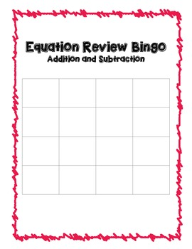 Adding and Subtracting One Step Bingo Review