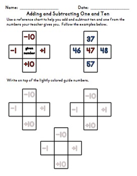 Adding and Subtracting One and Ten Chart Daily Practice Fi
