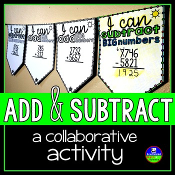 Adding and Subtracting Pennant {with and without regrouping}