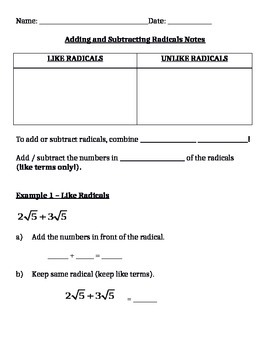Adding and Subtracting Radicals Notes and Assignments