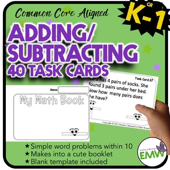Adding and Subtracting Task Cards – Makes a cute booklet (