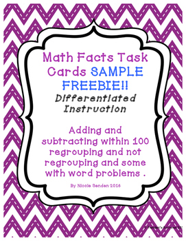 Adding and Subtracting Task Cards within 100 Sample