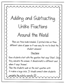 Adding and Subtracting Unlike Fractions Around the World -