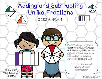 Adding and Subtracting Unlike Fractions (CCSS.5.NF.A.1) Grade 5