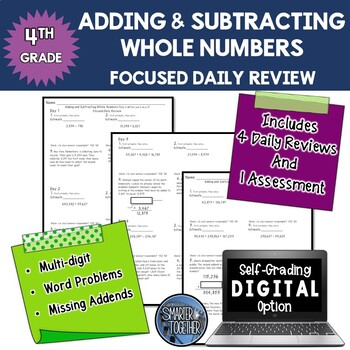 Adding and Subtracting Whole Numbers - Focused Daily Revie