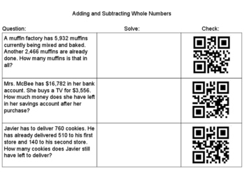 Adding and Subtracting Whole Numbers QR Scan