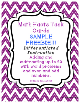 Adding and Subtracting Within 20 SAMPLE FREEBIE!