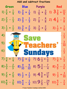 Adding and subtracting fractions lesson plans, worksheets
