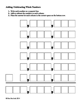 Adding or Subtracting Whole Numbers Help Sheet