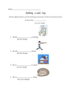 Adding -s -ing Sentences