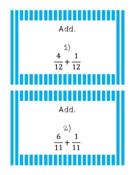 Adding simple fractions and mixed numbers task cards