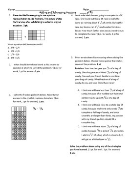 Adding & subtracting unlike fractions assessment