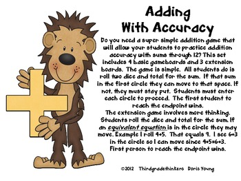 Adding with Accuracy Gameboards