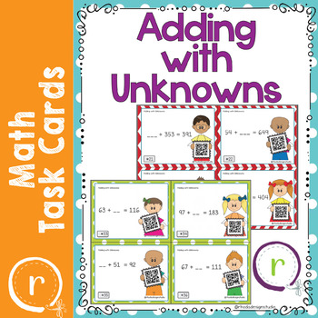 Adding with Unknowns QR Self Check Scoot Task Cards